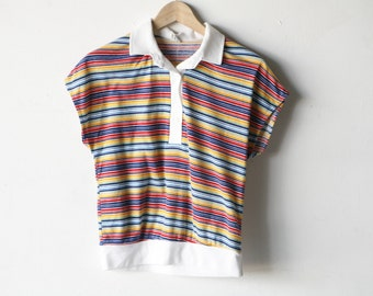 STRIPED polo shirt perfect bright t-shirt top vintage t-shirt women's size large