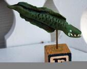 OOAK Hand Sculpted Wicked Eel on a Vintage Block