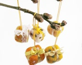 Easter ornament - Easter table decoration - set of 5 - gift boxes - holiday decor - yellow - orange  - green