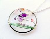 Spring boho necklace, purple butterfly pendant, resin jewelry, pastel jewelry, wire round pendant