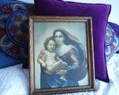 RESERVED Vintage Religious, Catholic, Mary and Jesus Picture, Frame