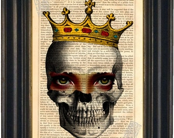 Skull with Crown and Eyes  Print Mixed Media Digital on repurposed 1860's Vintage Page