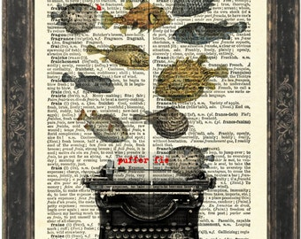 Puffer Fish with Typewriter  Print on vintage upcycled French English Dictionary Page mixed media