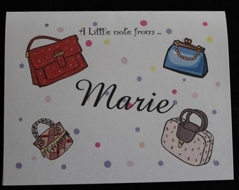 Fun Purses personalized note cards