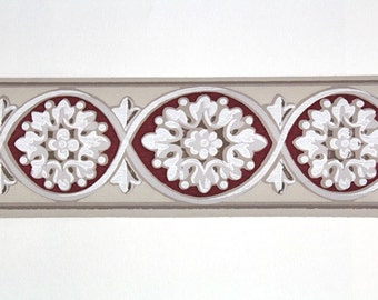 Full Vintage Wallpaper Border - TRIMZ - Burgundy, Gray, and Ivory Victorian Medallions