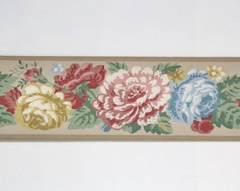 Full Vintage Wallpaper Border- TRIMZ- Red Yellow Blue Floral Roses on Tan