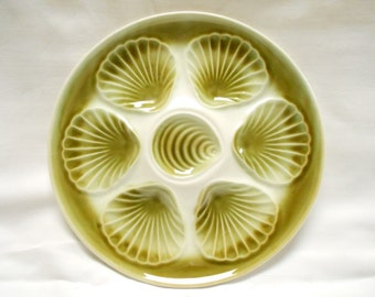 French Vintage Orchies Olive Green & White Faience Oyster Plate (A706)