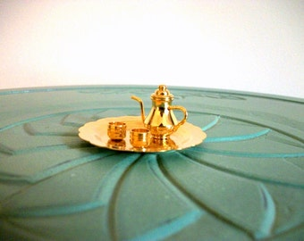Miniature tea teapot teacup tea tray brass retro vintage figurine small collectible
