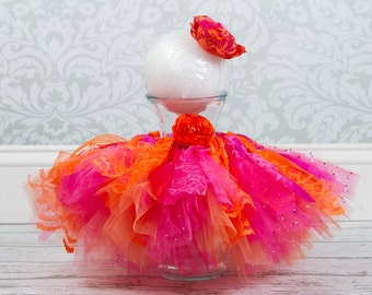 CLEARANCE Baby Shabby Chic Tutu and Headband, Hot Pink & Orange, 6 to 12 Months Baby, Photography Prop