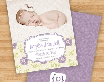 Baby Girl Birth Announcement - Purple and Spring Green Floral Design