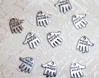 Silver Hand Made Tags - Hand Shaped Charms - 12mm x 13mm - Package of 20