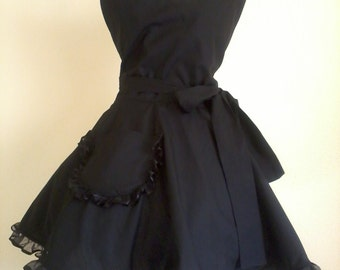 Black Retro Apron Classy Little Black Apron Circular Skirt