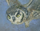 Flying Owl, Original Acrylic Painting, Bird Painting, night, mystical, blue, framed small art