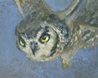 Flying Owl, Original Acrylic Painting, Bird Painting, night, mystical, blue, framed small art