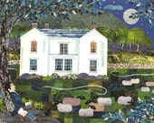 Wordsworth - English Romantics - Poetry - Booklovers - Fine Art Print - Lake District - Sheep - Garden - Naive Collage - Writers' Houses