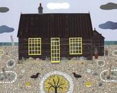 Derek Jarman· Aussicht auf Cottage· Feine Art Print· Naive Art· Collage· Geschenk für Art Lovers· Dungeness· Seaside· Autoren House· Strand Garden· Küste