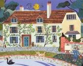 Bloomsbury Print - Charleston Farmhouse - Vanessa Bell - Duncan Grant - Bloomsbury Group - Naive Art - Collage - East Sussex - Garden - Swan