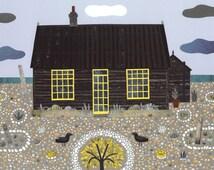 Derek Jarman - Prospect Cottage - Fine Art Print - Naive Art - Collage - Gift for Art Lovers - Dungeness - Sussex - Beach Garden - Coast Art