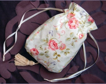 Civil War/ Victorian Stripes Roses RETICULE PURSE 100% cotton NEW ivory mauve