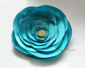 Turquoise Flower Satin Brooch, Wedding Brooch, Turquoise Wedding