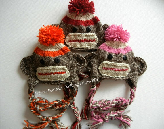 Sock Monkey Hat KNITTING PATTERN easy beginner by PatternsForDelia