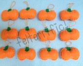 1 Dozen Handmade Felt Mini Pumpkin Ornaments