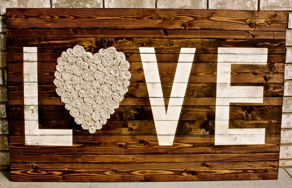 Reclaimed Wood LOVE Sign | Valentine's Day Decor Farmhouse Decor Rustic Wood Love Sign with Fabric Rosettes | Valentine Gift Wall Decor Wood