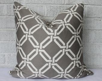 Grey, cream lattice pillow cover, 17 inch grey geometric