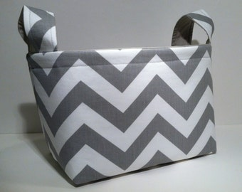 Fabric Storage Basket Bin Organizer Storage Container- Gray Chevron Zig Zag Stripe with Solid Light Gray Interior