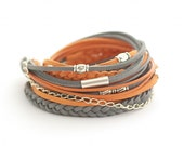 on vacation / Wrap Bracelet, Orange Gray Wrap Bracelet, Leather wrap, Boho bracelet, suede, double wrap, boho chic - cardioceras
