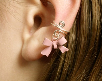 Ear Cuff LIMITED EDITION PINK Ear Cuff, Dainty and Feminine Silver Cuff with Dusty Pink Bow Charm