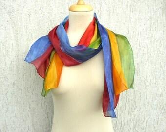 Multicolor silk scarf, striped hand painted scarf, rainbow silk scarf, funny scarf