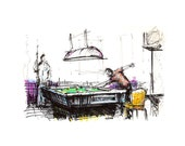 "Art Marker Sketch Print: ""Pool Hall"", by Luis E. Aparicio - Garabateando"