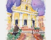 """5""""x 7"""" Watercolor Sketch Print:  """"Old San Juan Cathedral""""- by Luis E. Aparicio"""