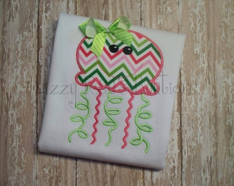 Jellyfish applique shirt- Summer applique shirt- Beach applique shirt