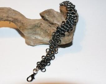 Gunmetal Enameled Copper 12 in 2 Chainmaille Bracelet