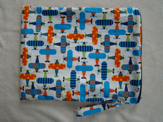 "Made to Order: Organic Large Wet Bag, 12"" X 15"" zippered with snap handle, organic airplane print."