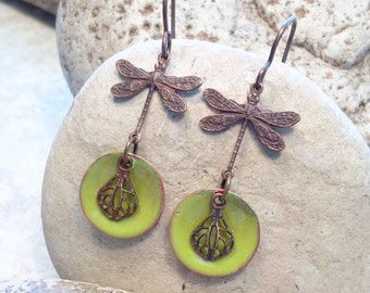 Lime Green Enamel Disc Dragonfly Earrings