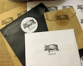 """20 Pig With Crown - Oh là là Stickers, Kraft or White 2"""" Circle Sticker, Peel and Stick"""