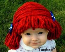 Raggedy ann wig, Halloween Costume, Baby wig, baby costume, Raggedy ann costume, girl pageant costume, baby hats, photo prop