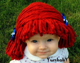 Raggedy ann wig, Halloween Costume, Baby wig, baby costume, Raggedy ann costume, girl pageant costume, baby hats, photo prop