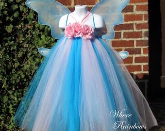 Ocean Princess Tutu Dress with large Fairy Wings 3t, 4t, 5t, 6