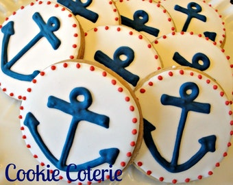 Anchor Cookies Nautical Decorated Cookies Birthday Party Baby Shower Cookie Favors One Dozen