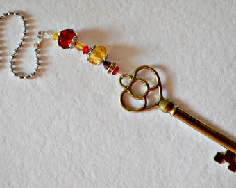 Decorative Red and Gold Ceiling Fan Pull with Key