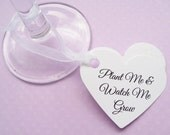 40 Personalised Flower Seed Heart Favours - Plantable Custom Tags - Wedding, Favour, Table Decor, Wishing Tree