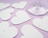 10 x 2 inch White Plantable Seed Hearts - Flower Seed Confetti - Wedding, Favours, Table Decor