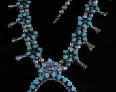 Zuni Squash Blossom Necklace Turquoise Hand Forged Silver Beads Genuine Article ON SALE NOW!