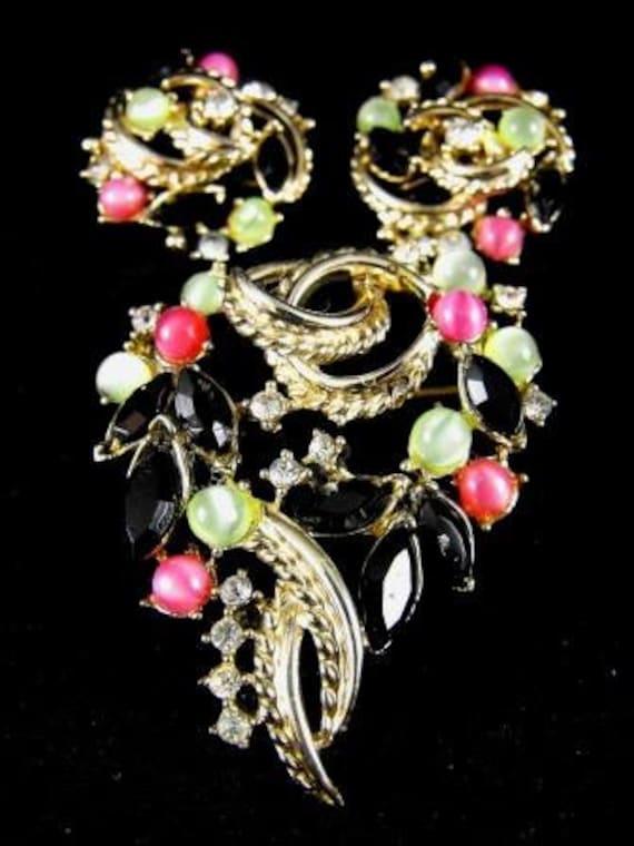 Coro Signed Demi Parure Brooch Earring Set On Sale Now 45.00