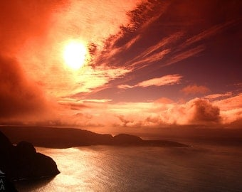 Norway wall art, North cape, Midnight sun, Nordkapp sunset photo print, sunset over the Northern sea high quality art print