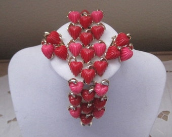 Vintage Jewelry Vintage Bracelet Clip On Earring Red Pink Hearts 1950's Mid-Century Gift Giving